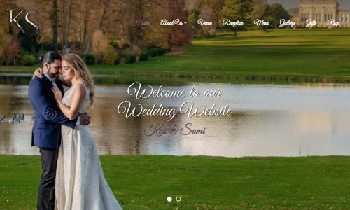 Wedding website example with couple photo
